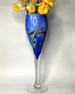 ваза напольная синяя