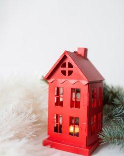 подсвечник домик красный купить