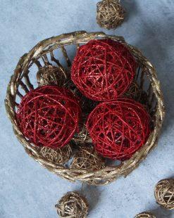 купить шар на елку из ротанга