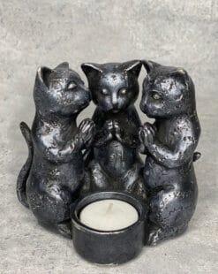 подсвечник три кота серебристый