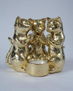 подсвечник золотые коты