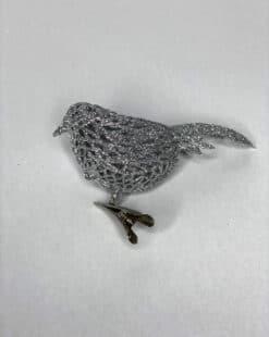 серебрянная птичка на прищепке