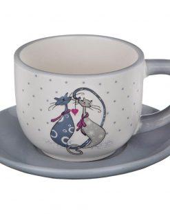 чашка с блюдцем котики
