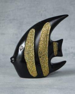 статуэтка рыба чёрная с золотом