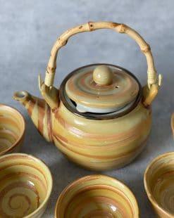 набор чайник с пиалами керамический