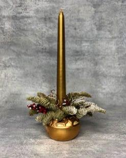 композиция новогодняя со свечёй